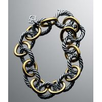 Women Fashion Design Inspired Oval link Gold Silver Bracelet thumbnail image