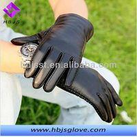 fashion sheepskin warm driving winter men's leather gloves