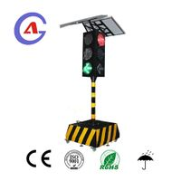 Solar power movable portable traffic signal light