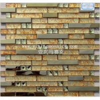 gold yellow color glass mosaic tiles mix metal mosaic tile for wall decor