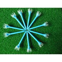 Plastic crown golf tee with multi color rubber crown top
