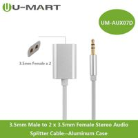 3.5mm Male to 2 x 3.5mm Female Aux Stereo Audio Splitter Cable Aluminum Case thumbnail image