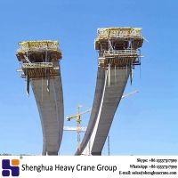 Balanced cantilever concrete bridge construction used form traveller