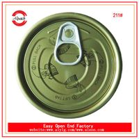 Hot sale 211 tinplate easy open end gold lacqquer inside direct from China factory