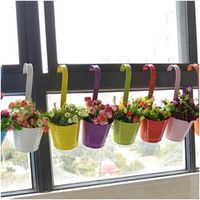 Flower Pot Hanging Balcony Garden Plant Metal Iron Planter Home Decor Convenient thumbnail image