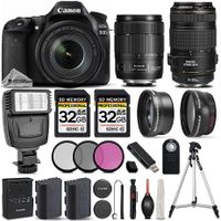 Canon EOS 80D WiFi Full HD 1080P Digital SLR Camera + 18-135mm IS USM Lens + 70-300mm IS USM Lens +