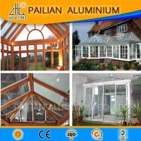 2016 ZHL Beautiful design aluminum sun room, wood grain aluminum profiles for Garden glass house