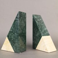 Triangular 100% Natural Polished Green and Beige Marble Bookends thumbnail image
