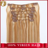 Wholesale Price Virgin Indian Hair Yaki Straight Human Hair Extension Double Drawn Remy Clip In Hair thumbnail image