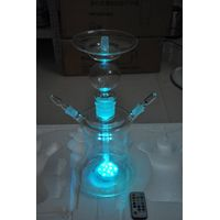 2014 new arrival high quality stylish design glass hookah with LED remote control