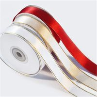 Wholesale high quality satin ribbon with gold line thumbnail image
