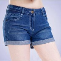 High waist sexy girls and ladies washed blue denim shots pants made in China