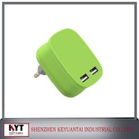 colorful travel charger usb 5V4.5A dual usb charger with smart IC