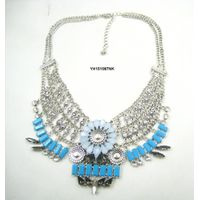 Multi stone layered imitation jewellery fashion pendant collar necklace