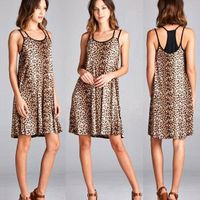 leopard print knit spaghetti straps dress, loose fit scoop round back with contrast racerback women