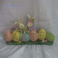 14 Inch Resin Egg Bunny Easter Tabletop Decoration