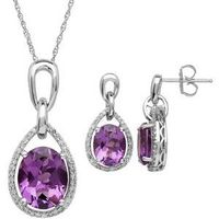 Amethyst & 1/3 Carat T.W. Diamond Sterling Silver Teardrop