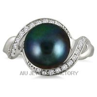 silver black pearl fashion ring