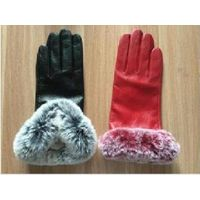 Leather Gloves rabbit Fur Trim