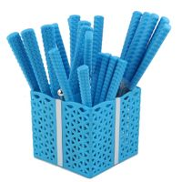 Popular knitting design blue plastic handle cutlery set with basket stand