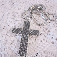 Sterling Silver Jewelry Pave Black CZ Large Cross Necklace (M-016) thumbnail image