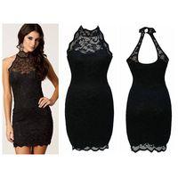 Black Sexy Party Halter Neck Lace Vintage Dress thumbnail image