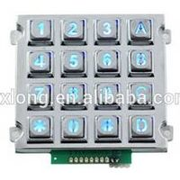 Zinc alloy 4X4 led backlight keypad