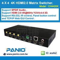 ACAFA 4 X 4 4K HDMI2.0 Matrix Switcher with Audio,RS232, LAN, EDID