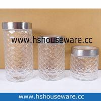 3pcs glass canister set