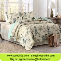 American Pastoral Flower Bird Printed Summer Quilt Cover Bedding Sets Pure Cotton Blanket Bedspreads thumbnail image