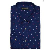 Causal shirt cotton slim fit printing flower point collar men shirt thumbnail image