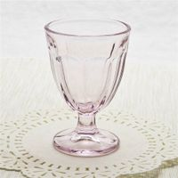 Decorative handmade pressed thick glass wine glass pink wine goblet