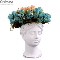 Modern white and pink resin lady bust head vase thumbnail image