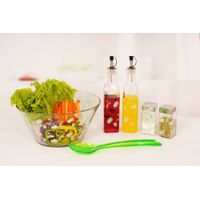 glass salad bowl set with decal