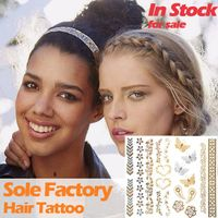 Wholesale metallic gold and silver hair tattoo hair accessories custom hair tattoo sticker manufactu