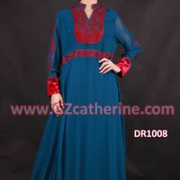 Blue Silk Chiffon Embroidery Fashion Jilbab Kaftans Long Dress Jalabiya