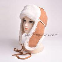 China sheepskin bomber cap winter lamb fur trapper fur hat