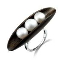 Myshine 2012 newest design pearl silver ring for ladies
