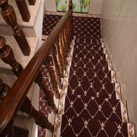 Coffee Two Flower Polyester Jacquard Persian Carpet For Stairs 8165