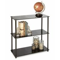 Convenience Concepts Black Classic Glass 3-Shelf Bookcase