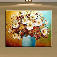 100%hand-painted peach flower painting frameless Decorative wall Art Paint Oil painting on canvas No