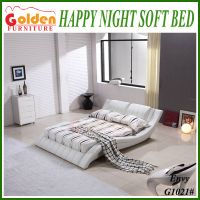 Golden Furniture latest wood leather bed designs in 2014