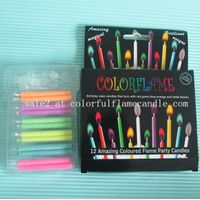 Factory sales colored flame birthday candlle