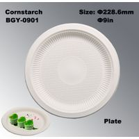 9 Inch Biodegradable Cornstarch Disposable Plate BGY-0901 thumbnail image