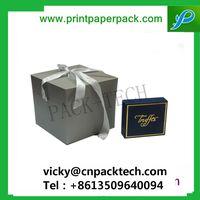 Custom Luxe Ribbon Duet Series Paper Jewelry Box High Walled Rigid Folding Rigid Setup Gift Cake Box thumbnail image
