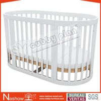 Cubby Plan LMBC-080 New Factional 4 in 1 Wooden Round Baby Cot
