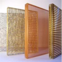 Fabric mesh laminated glass-for interior decoration