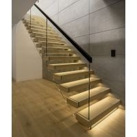 Glass Railing Floating Staircase With LED Light