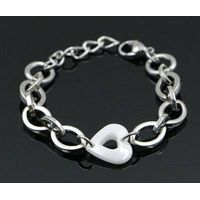 2016 new design ceramic heart charms stainless steel bracelets