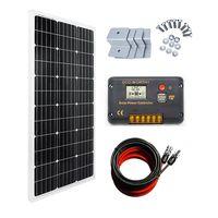 ECO-WORTHY 100 Watt Monocrystalline Solar Panel 12V Off-Grid RV Boat Kit:100 Watt Solar Panel with 2